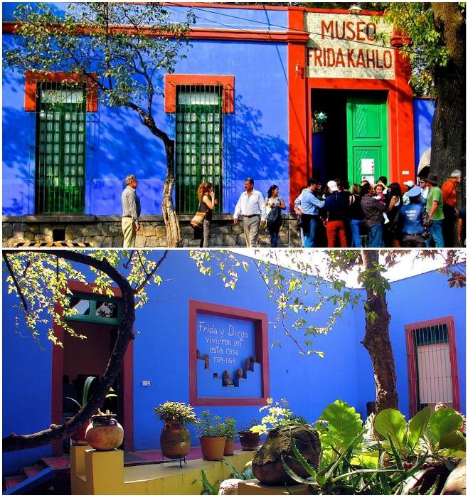 Теперь, чтобы попасть в музей Фриды Кало, в очереди стоять не придется. | Фото: sistemamodernodeviajes.com/ pinterest.fr.