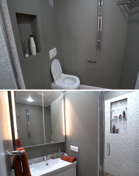 Глубокий серый цвет, плитка под белый мрамор и яркий текстиль позволили создать стильный интерьер. | Фото: youtube.com/ @ INMYROOM TV.