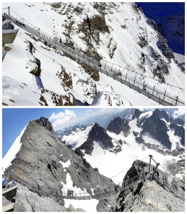 Мост Titlis Cliff Walk -  инженерное чудо, построенное на высоте 3020 метров в швейцарских Альпах. | Фото: travel.ru.
