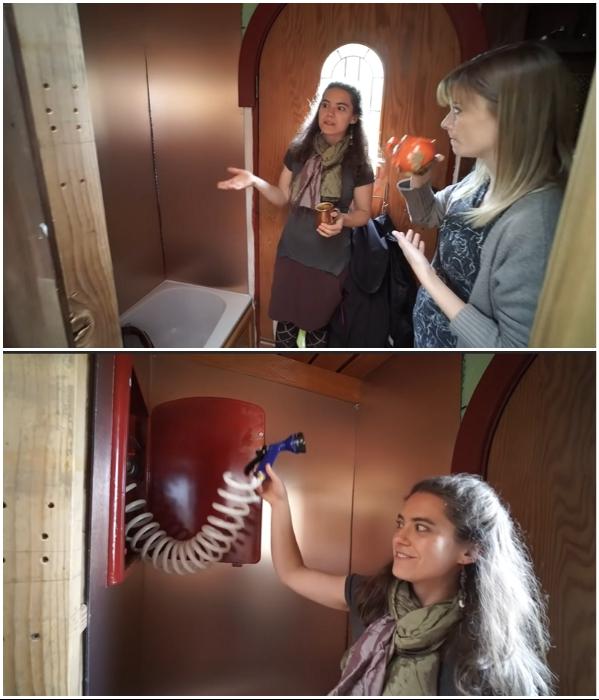 Несмотря на крошечные габариты удалось установить душевую с глубоким поддоном («Lucky Penny», США). | Фото: youtube.com/ © Tiny House Giant Journey.