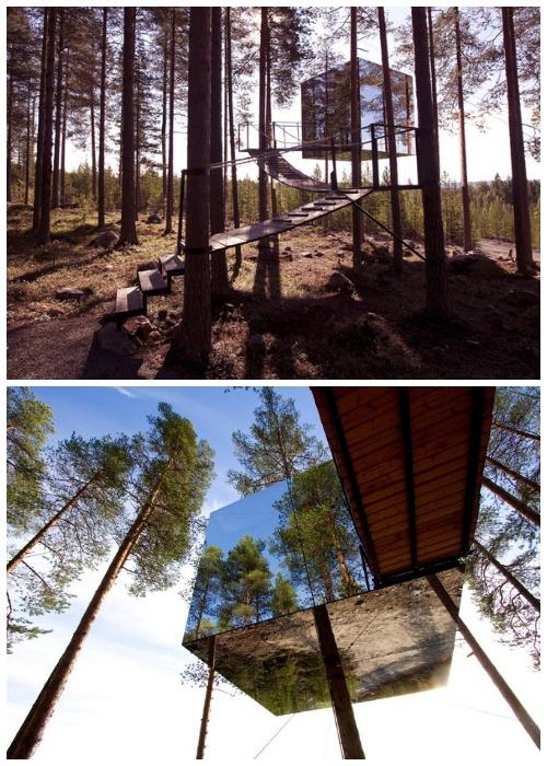 Mirrorcube – полностью зеркальный номер гостиничного комплекса Treehotel (Швеция).