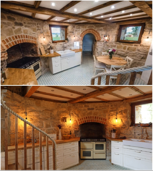 Особенно оригинальным стало расположение газовой плиты в кухне-столовой («Aylesbury Vale Buckinghamshire»). | Фото: granddesigns.tv/ granddesignsmagazine.com.