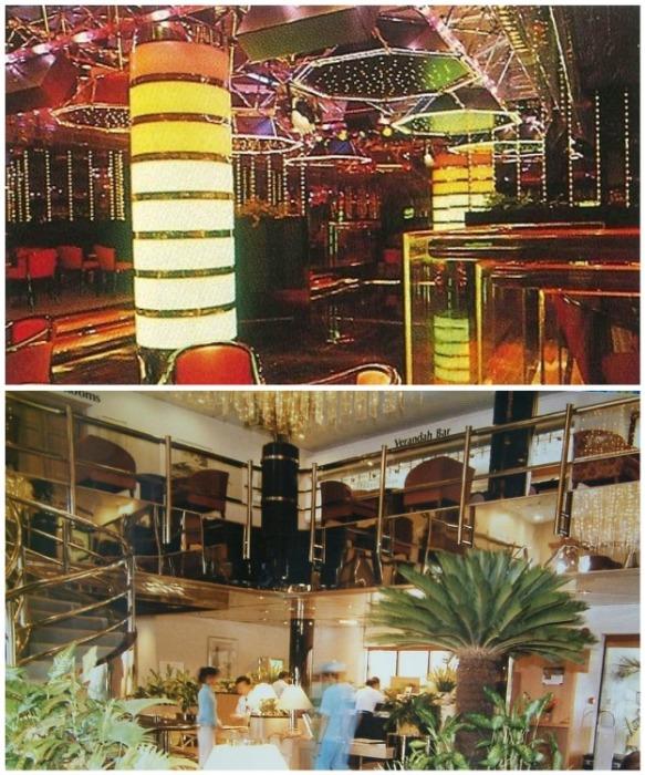 Так выглядели ночной клуб и роскошный ресторан в плавучем отеле (кадры 1988 г.) masterok.livejournal.com.