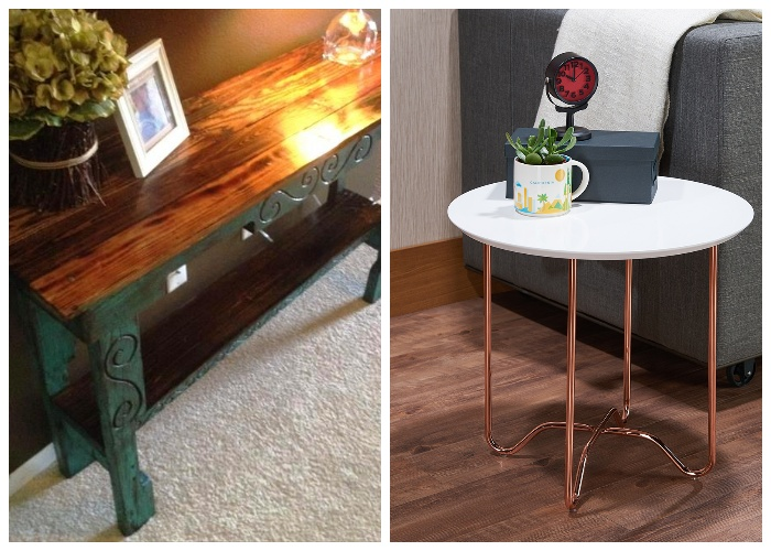 Приставной столик можно использовать в качестве консоли или выставочной поверхности.