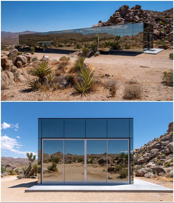 Природная красота отражается на зеркальных поверхностях «Invisible House» (Joshua Tree, Калифорния). | Фото: hiconsumption.com/ dezeen.com.