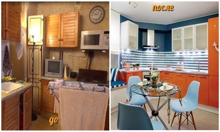 Преображение кухни однокомнатной квартиры.