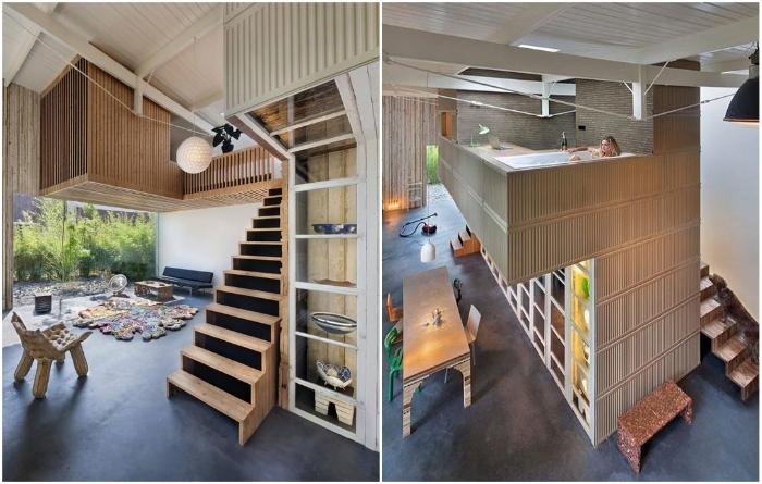 Благодаря высоким потолкам удалось создать комфортную и эффектную жилую зону (Утрехт, Нидерланды). | Фото: liveinternet.ru.