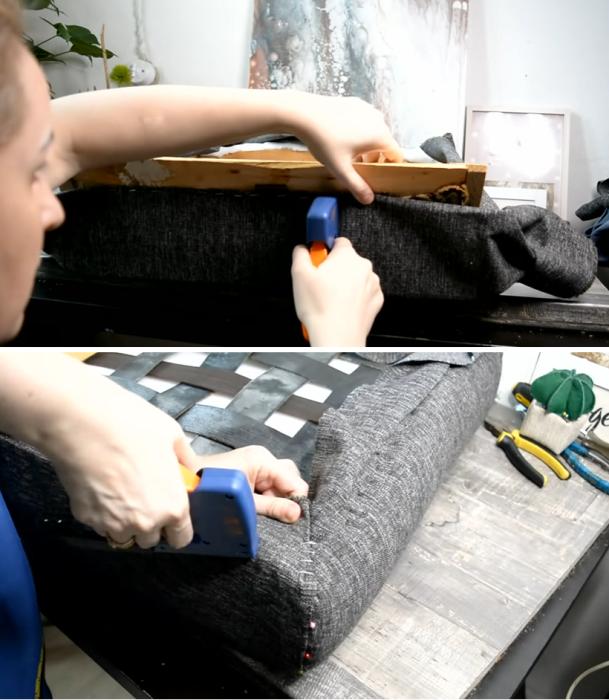 Обивку делают специальной мебельной тканью. | Фото: youtube.com/ © Светлана Анисимова.