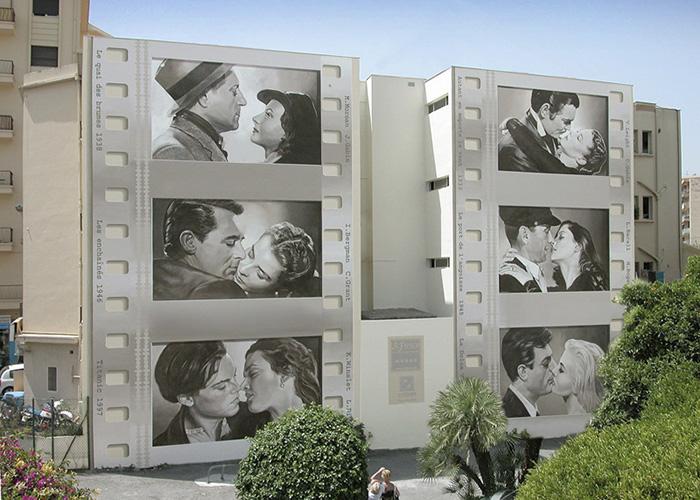 На одном из зданий можно увидеть впечатляющую галерею «Поцелуи звезд» (Patrick Commecy & A.Fresco).   Фото: boredpanda.com.