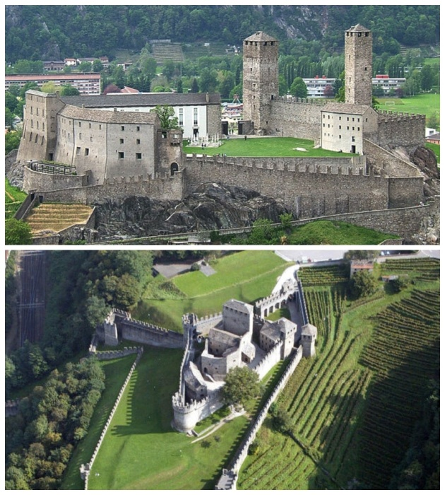 Замки Беллинцоны с древних времен играли важную роль для города, ведь они являлись основными оборонительными объектами (Швейцария). | Фото: castles.today.