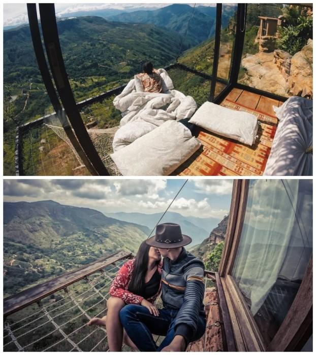Более чем скромные хижины с открытыми сетчатыми балконами парят на глубоким обрывом (Отель Refugio La Roca, Колумбия). | Фото: yaplakal.club/ news.myseldon.com.