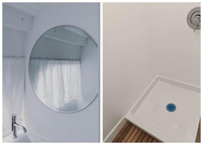 В крошечном доме на колесах удалось создать полноценную ванную комнату и автономную канализационную систему («Greyhound»).