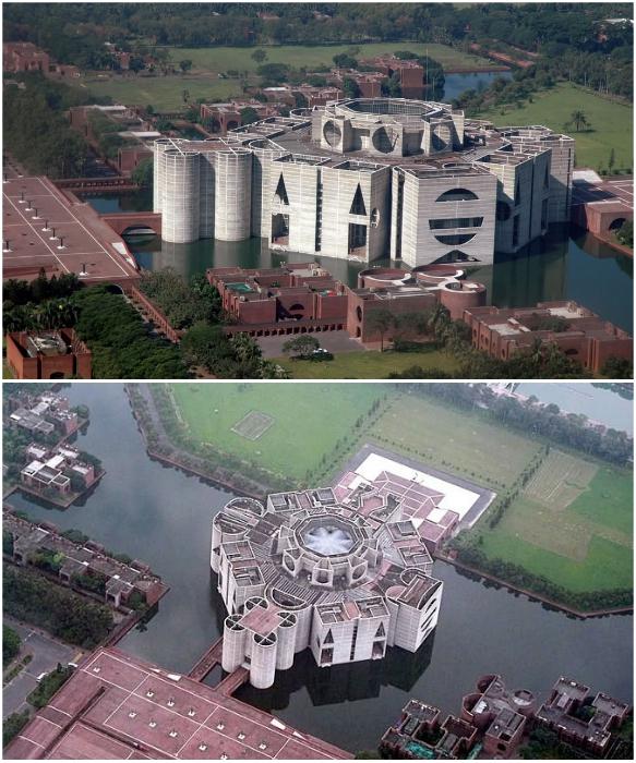 Необычные формы сооружения Национальной Ассамблеи сделали проект Кана известным на весь мир (Дакка, Бангладеш). | Фото: nijhoom.com/ pinterest.com.