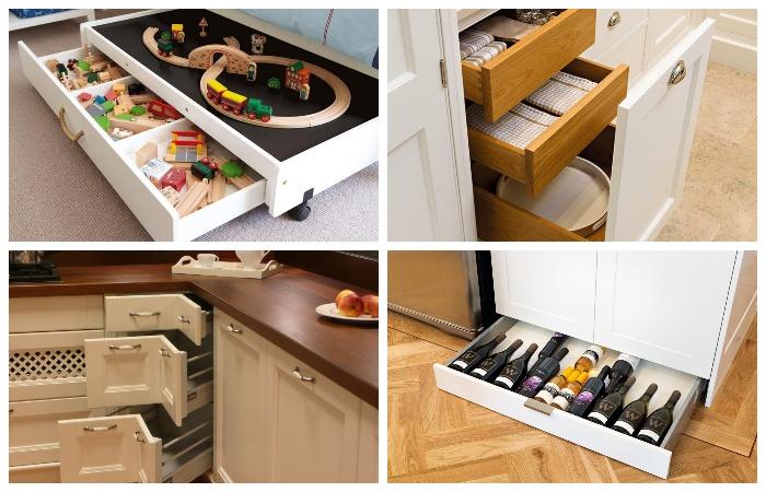 Ящики в выдвижных системах – идеальное место для хранения различных предметов и вещей.