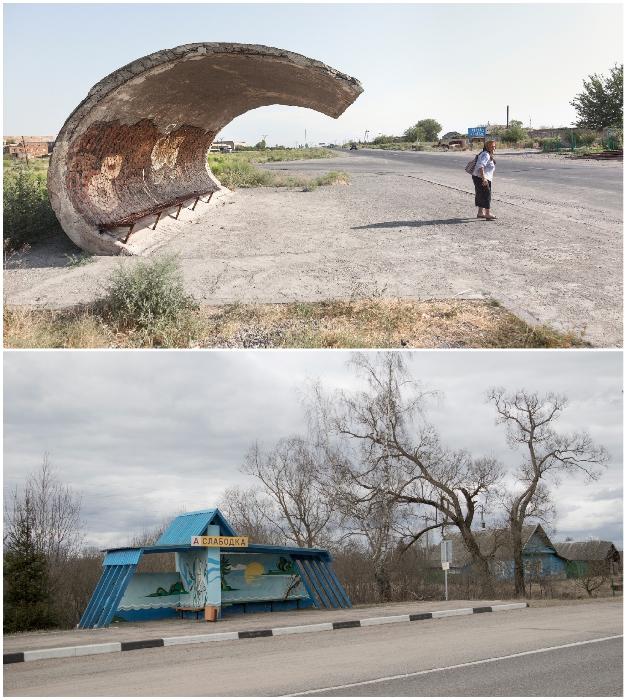 Обочины белорусских дорог до сих пор украшают оригинальные автобусные остановки советской эпохи (Дорога на Ивенец и Слободку). © Christopher Herwig.