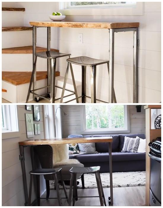 С помощью мобильной барной стойки можно создавать столовую зону (дом-фургон «Эльза»). | Фото: tinyhousetown.net.