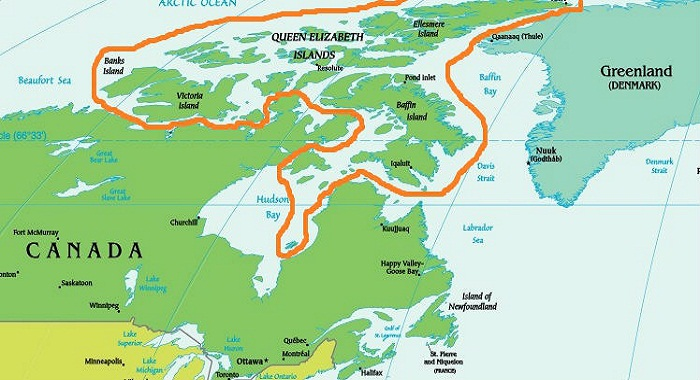 Канадский Арктический архипелаг на карте. | Фото: yandex.kz.