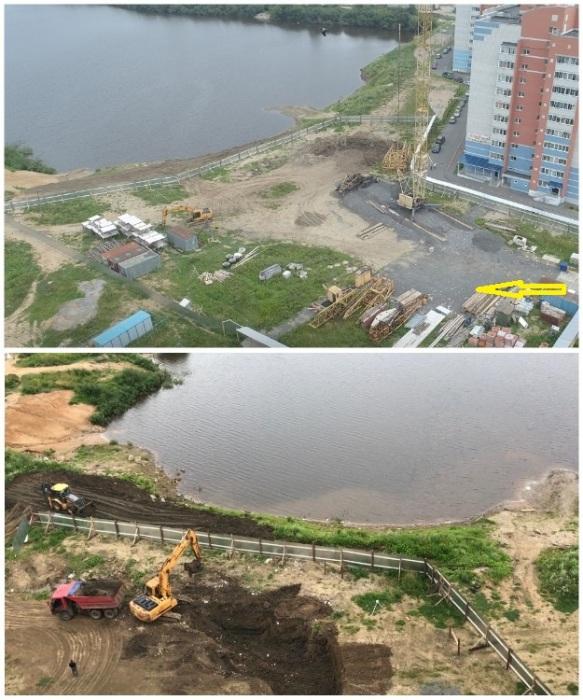 В итоге стройка началась прямо на берегу реки, часть которой числится земельным участком. | Фото: domozhiroff.livejournal.com.
