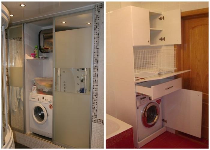 Стиральную машинку можно спрятать в шкаф.