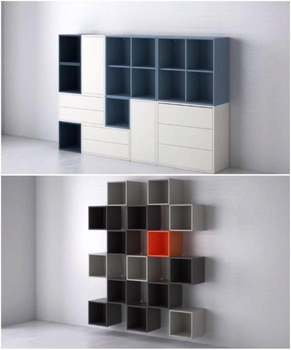 Из модульных элементов можно собирать любые мебельные конструкции (серия шкафов Eket, Ikea). | Фото: youtube.com/ DIY Floyd.