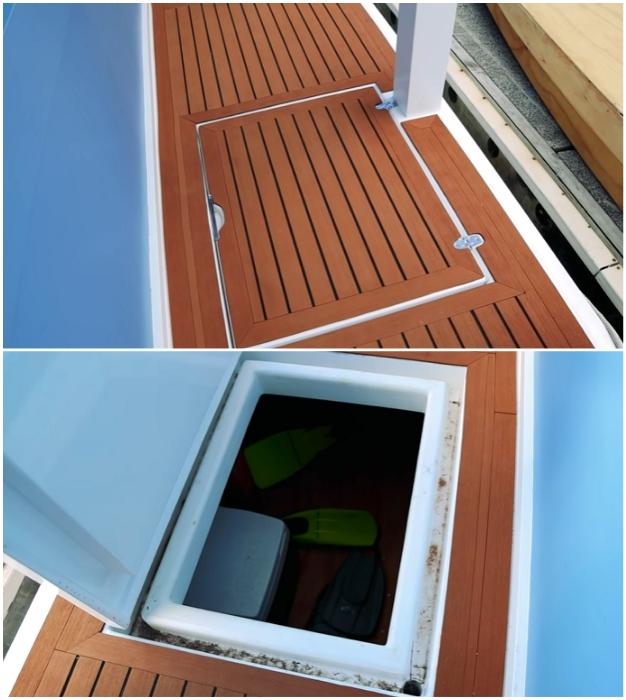 Под палубой удалось организовать несколько вместительных ящиков для хранения различного инвентаря («Blue Turtle», Окленд). | Фото: youtube.com/ © Living Big In A Tiny House.