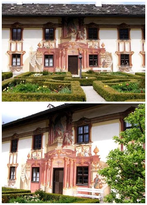 Колонны, балконы и парадная лестница на фреске выглядят как настоящие (деревня Обераммергау, Германия).