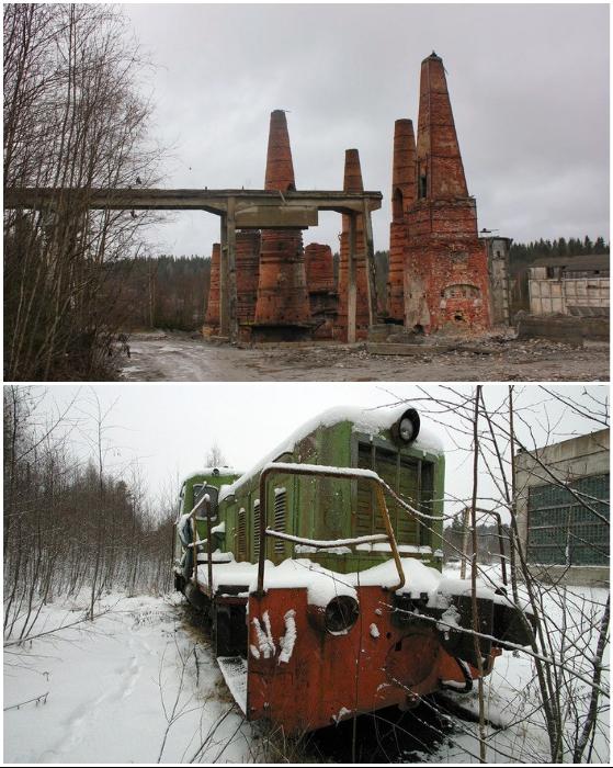 Заброшенной оказалась вся инфраструктура мраморно-известкового завода (Рускеала, Карелия).