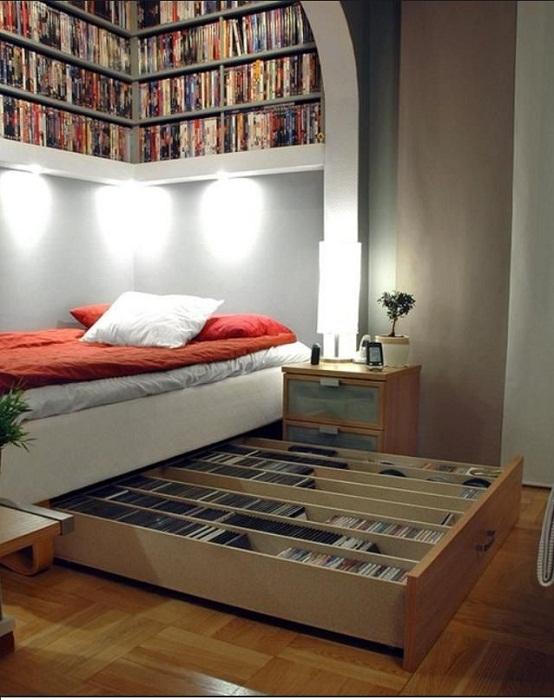 Выдвижные кровати, как место для хранения вещей.