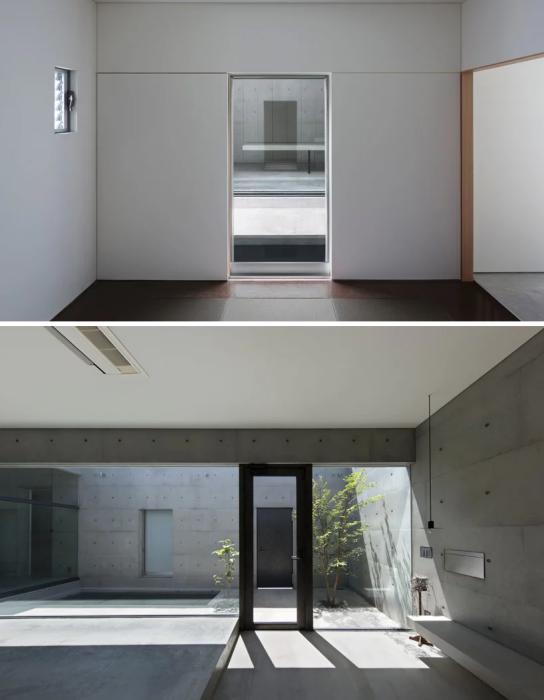 Стены «House in Shime» изготовлены из монолитных бетонных плит (Фукуока, Япония).