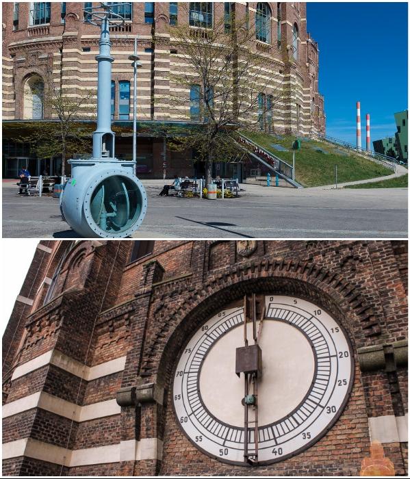 Памятник газовому вентилю и манометры, сохранившихся на фасадах газгольдеров, стали любимым местом съемок (Вена, Австрия). | Фото: tripandme.ru/ ru.esosedi.org.