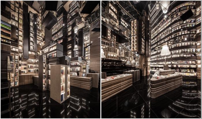 Раздробленное зеркально-глянцевое пространство подчеркивает нереальность происходящего вокруг (Zhongshuge Bookstore, Ningbo). | Фото: interestingengineering.com.
