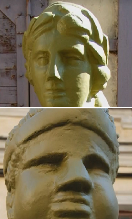 Только одна статуя сохранила отдаленную схожесть с оригиналом, ну а остальные просто опухли и расплылись. | Фото: antikzone.ru/ realt.onliner.by.