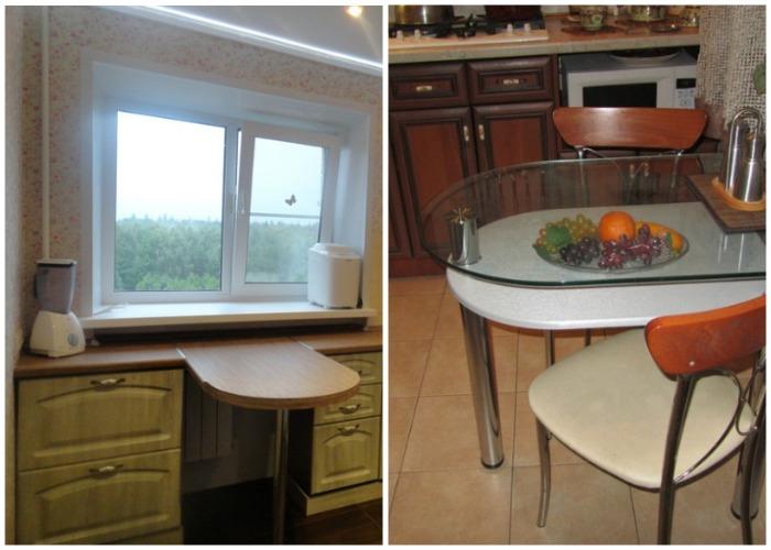 Компактные обеденные столы в интерьере маленькой кухни.
