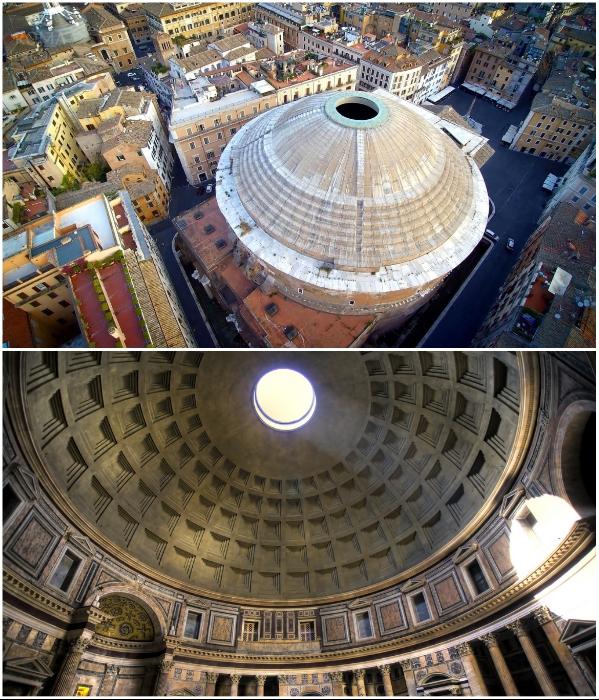 Полусферический купол Пантеона является удивительной загадкой и самым большим в мире неармированным перекрытием. | Фото: planetofhotels.com.