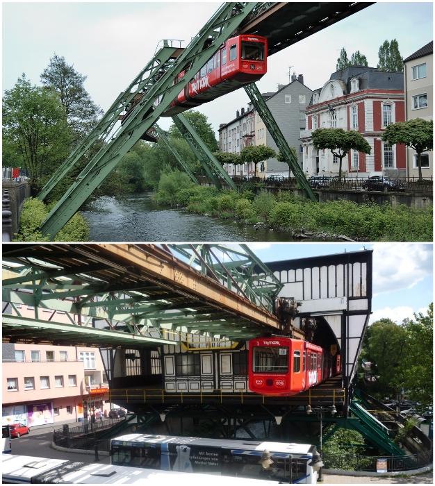 Вуппертальская подвесная железная дорога по сей день востребована и актуальна (Германия).
