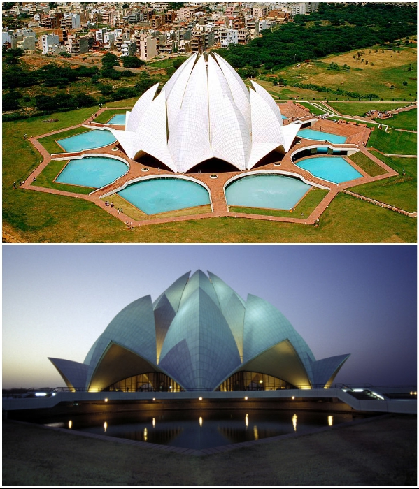 The Lotus Temple – главный храм религии Бахаи (Нью-Дели, Индия). | Фото: vsya-planeta.ru/ interestingengineering.com.