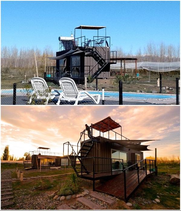 Чтобы уменьшить негативное влияние на природу, номера гостиницы сделали из морских контейнеров («CasArtero Eco Posada», Аргентина). | Фото: booking.com.
