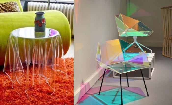 Стеклянные столы и кресла очаруют всех.