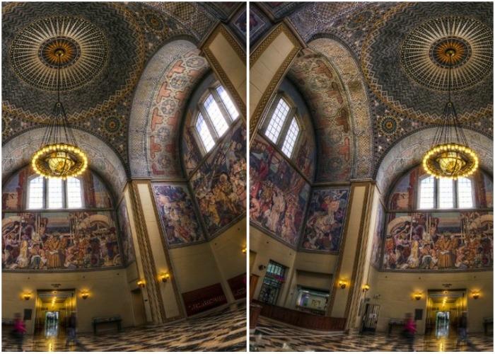Яркие фрески работы Дина Корнуэлла украшают стены Публичной библиотеки.