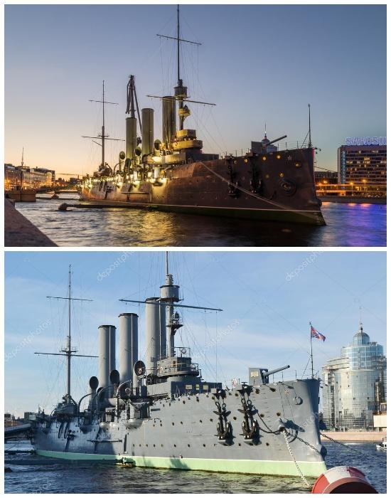 Новый крейсер «Аврора» на Петроградской набережной (Санкт-Петербург, Россия).