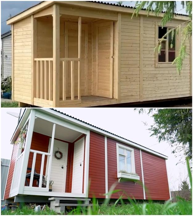 Обычную бытовку, созданную под заказ, креативные супруги превратили в стильный летний домик.