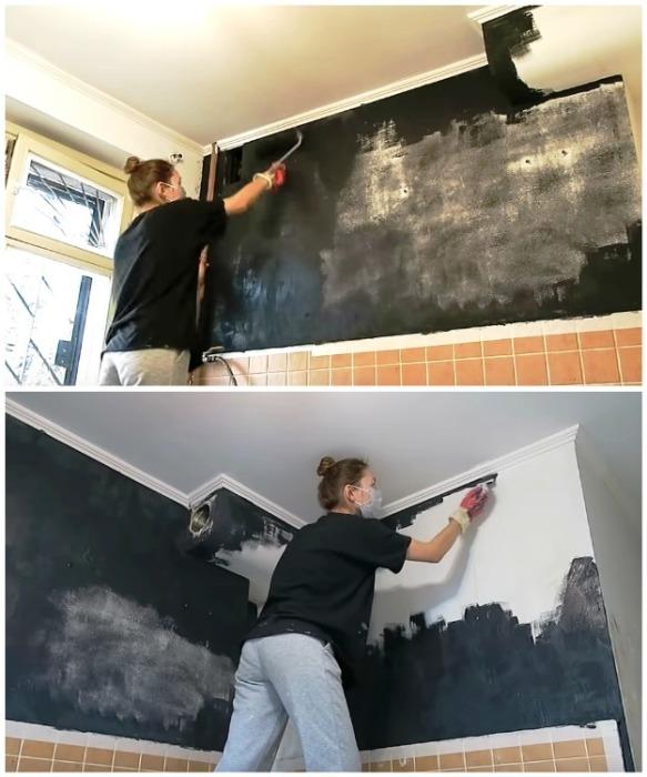 Стену рабочей зоны Анна покрасила в черный матовый цвет.   Фото: youtube.com/ Anna_Studio.