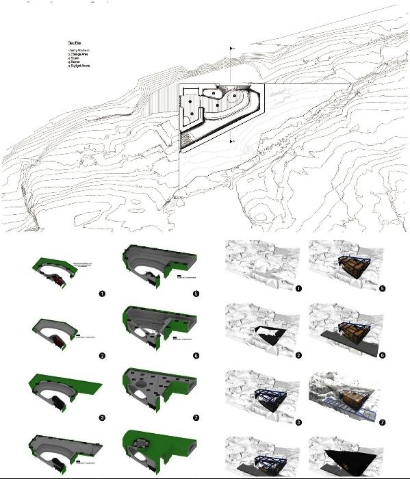 Схема размещения сауны на скалистом берегу («Grotto», Канада). / Фото: theawesomedaily.com.