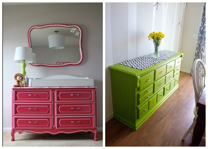 С помощью акриловой эмали в виде спрея можно идеально покрасить любую мебель. | Фото: kursremonta.ru.