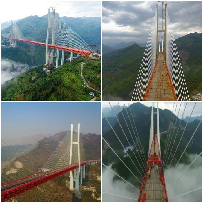 Мост Бэйпаньцзян имеет очень сложную конструкцию.