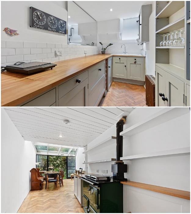 В узком доме получилась полностью оборудованная кухня, в которой есть даже дровяная печка («The thinnest house», Лондон).   Фото: dailymail.co.uk/ © Winkworth.