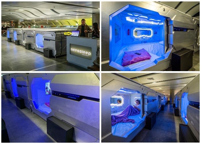 Аэропорт Пулково предлагает комфортные условия отдыха для трансферных пассажиров внутренних и международных рейсов (Aerosleep).