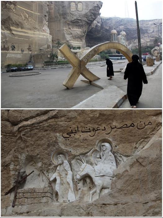 Знак рыбы – древний символ Христа и библейские мотивы на скалах расположены у входа в комплекс (храм Св. Симеона, Каир). | Фото: v-hrame.livejournal.com.