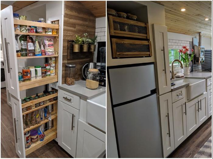 Во встроенном шкафу удалось пристроить полноразмерный холодильник, мини-кладовку и полки для хранения банок. | Фото: facebook.com/ © Going Boundless.