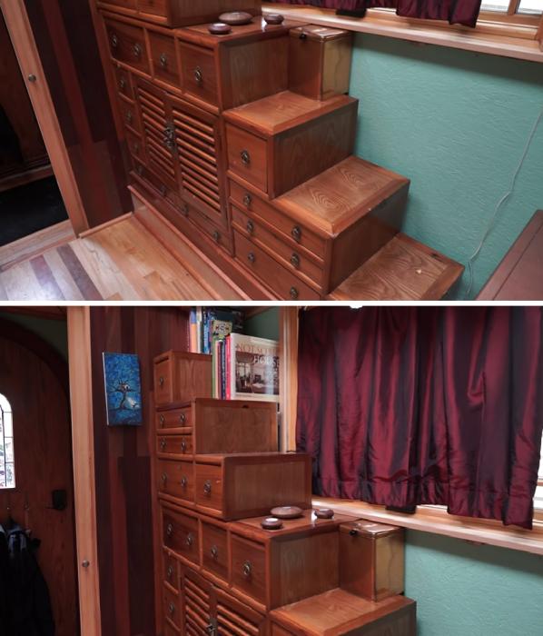 Вместо громоздкого шкафа Лина сделала оригинальный комод, который может служить лестницей для кота и для нее («Lucky Penny», США). | Фото: youtube.com/ © Tiny House Giant Journey.